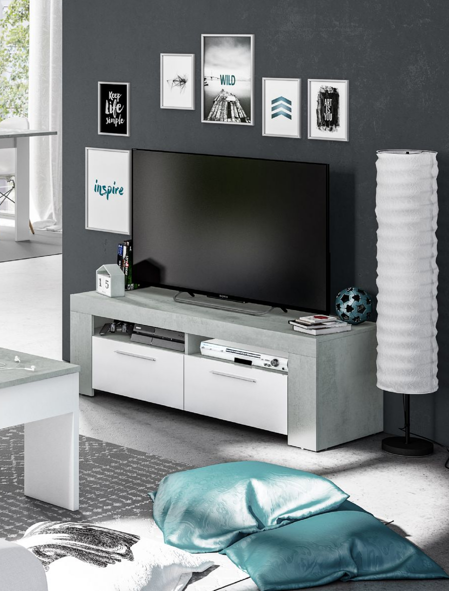 Cubo White And Grey Tv Cabinet Entertainment Unit 2905